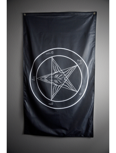 Black & White Baphomet Flag
